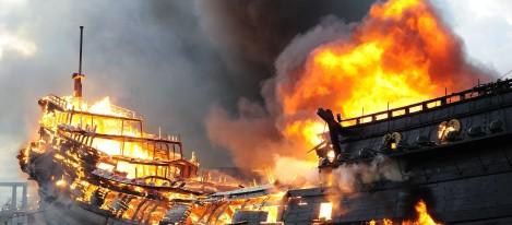 VOC-schip Prins Willim afgebrand